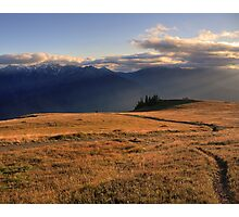 09-03-14 - Sunbeams on Hurricane Hill and Mount Carrie, Olympic National Park, Washington Photographic Print