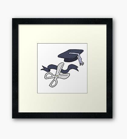 cartoon scissors cutting ribbon at graduation Framed Print