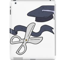 cartoon scissors cutting ribbon at graduation iPad Case/Skin