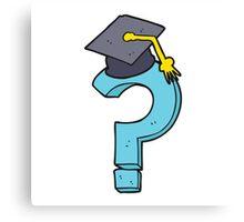 cartoon graduation cap on question mark Canvas Print