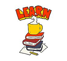 cartoon books and coffee cup under Learn symbol Photographic Print