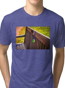 Baby Pacifier on Park Bench Tri-blend T-Shirt