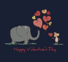 Elephant and Mouse Story of Love Valentine 2017 T-Shirt One Piece - Long Sleeve