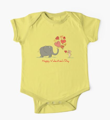 Elephant and Mouse Story of Love Valentine 2017 T-Shirt One Piece - Short Sleeve