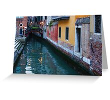 Impressions Of Venice - Canal Reflections Colorful Facades and a Charming Christmassy Bridge Greeting Card
