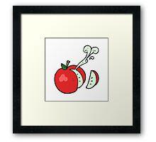 cartoon sliced apple Framed Print