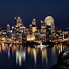 Moon Rise Over Pittsburgh by Kathy Weaver