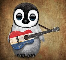 Baby Penguin Playing Dutch Flag Guitar by Jeff Bartels