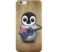 Baby Penguin Playing New Zealand Flag Guitar iPhone Case/Skin