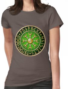 Norse Aegishjalmur Runes - Green Womens Fitted T-Shirt
