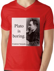 Plato Is Boring - Nietzsche Mens V-Neck T-Shirt