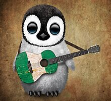Baby Penguin Playing Nigerian Flag Guitar by Jeff Bartels
