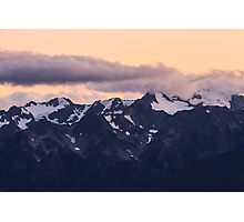 Clouds over Mount Carrie at Sunset, Olympic National Park Photographic Print