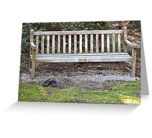 Empty Bench Empty Shoes  Greeting Card