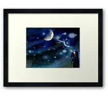 Trying To Touch The Moon With Her Love Framed Print