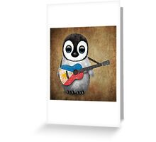 Baby Penguin Playing Filipino Flag Guitar Greeting Card
