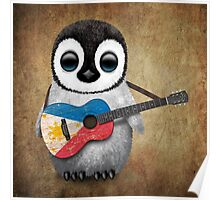 Baby Penguin Playing Filipino Flag Guitar Poster