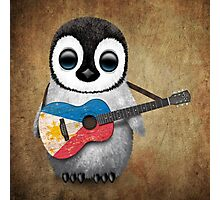 Baby Penguin Playing Filipino Flag Guitar Photographic Print