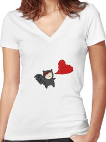 Raccoon Love Women's Fitted V-Neck T-Shirt