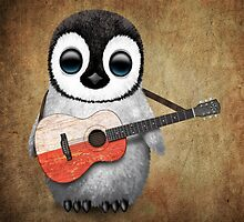 Baby Penguin Playing Polish Flag Guitar by Jeff Bartels