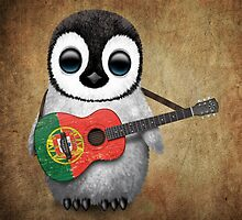 Baby Penguin Playing Portuguese Flag Guitar by Jeff Bartels