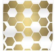 Bee hive flowers- Gold Poster