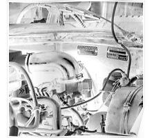 Citroën D Series Engine Bay Black & White Negative Poster