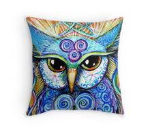 Spirit Owl, original illustration by Sheridon Rayment Throw Pillow
