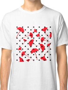 Black Dots and Red Flowers Classic T-Shirt