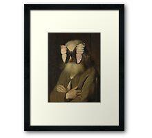 Alter Mann mit Schmetterling Framed Print