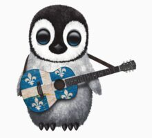 Baby Penguin Playing Quebec Flag Guitar One Piece - Short Sleeve