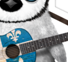 Baby Penguin Playing Quebec Flag Guitar Sticker