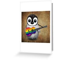 Baby Penguin Playing Gay Pride Rainbow Flag Guitar Greeting Card