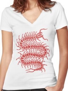 Centipede Adventure Women's Fitted V-Neck T-Shirt