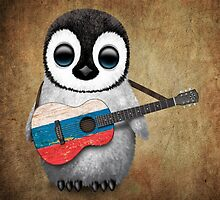 Baby Penguin Playing Russian Flag Guitar by Jeff Bartels