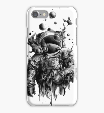 Undead astronaut floating in space iPhone Case/Skin