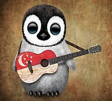 Baby Penguin Playing Singapore Flag Guitar by Jeff Bartels