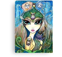 Owlete The Owl Queen, by Sheridon Rayment Canvas Print