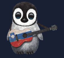 Baby Penguin Playing Slovenian Flag Guitar Kids Clothes