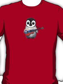 Baby Penguin Playing Slovenian Flag Guitar T-Shirt