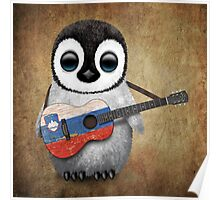Baby Penguin Playing Slovenian Flag Guitar Poster