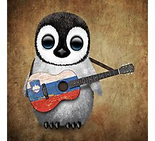 Baby Penguin Playing Slovenian Flag Guitar Photographic Print