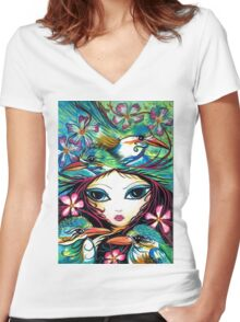 The Little Kingfisher by Sheridon Rayment Women's Fitted V-Neck T-Shirt