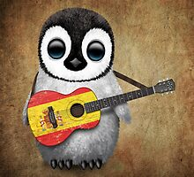 Baby Penguin Playing Spanish Flag Guitar by Jeff Bartels