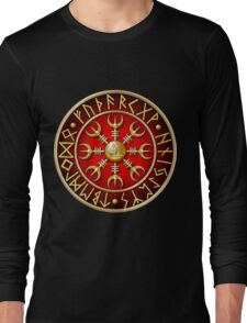 Norse Aegishjalmur Runes - Red Long Sleeve T-Shirt