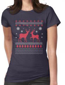 Classic Christmas T-Shirt Reindeer Design  Womens Fitted T-Shirt