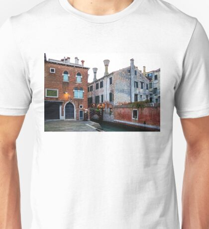Impressions Of Venice - Side Canal Palazzi and a Charming Christmassy Bridge Unisex T-Shirt