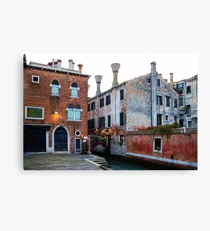 Impressions Of Venice - Side Canal Palazzi and a Charming Christmassy Bridge Canvas Print