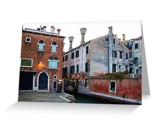 Impressions Of Venice - Side Canal Palazzi and a Charming Christmassy Bridge Greeting Card