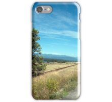 Road, sky, tree and wild grasses landscape photography iPhone Case/Skin